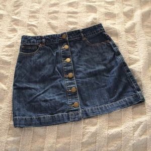 Denim Button Up Mini Skirt